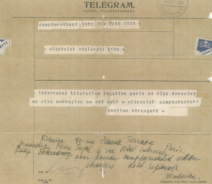 [Telegram from Roman Vishniac to his family in Stockholm, Camp du Ruchard Internment Camp, France]