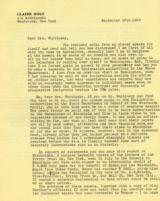 [Letter from Claire Holt, Vishniac's sister-in-law in Woodstock, New York, to Emma Woytinsky in Washington, D.C.]