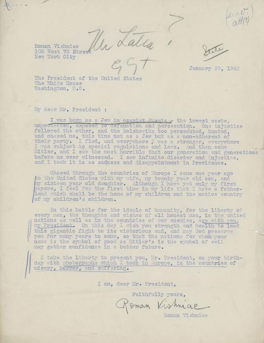 [Letter from Roman Vishniac to President Franklin D. Roosevelt]