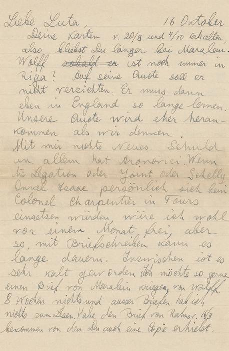 [Letter from Vishniac to Luta Vishniac, Camp du Ruchard Internment Camp, France]
