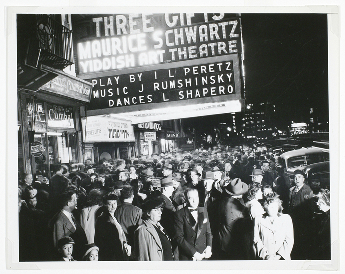 [Outside the Yiddish Art Theatre, New York]
