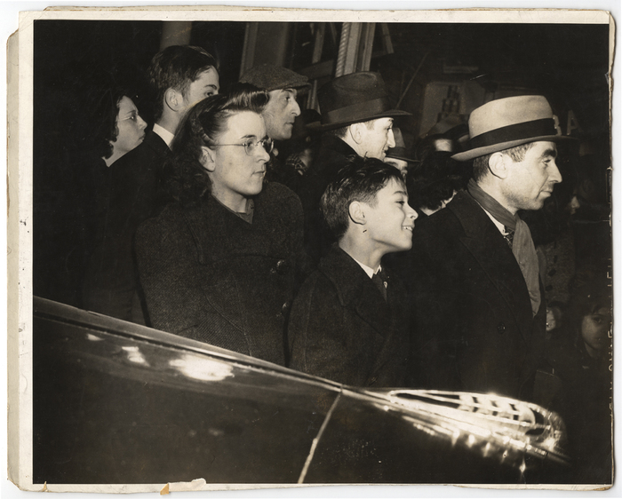 [Bystanders looking at the body of Salvatore Sutera, New York]