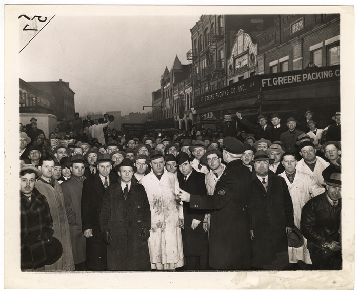 [Wartime rationing: retail butchers await arrival of meat, Brooklyn]