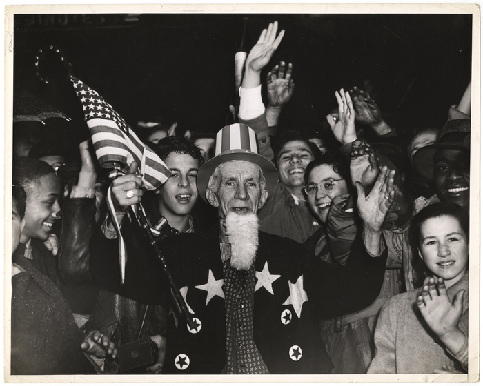 [Uncle Sam and crowd celebrating]