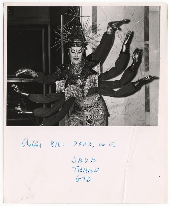 Artist Bill Dorr, as a Java Temple God
