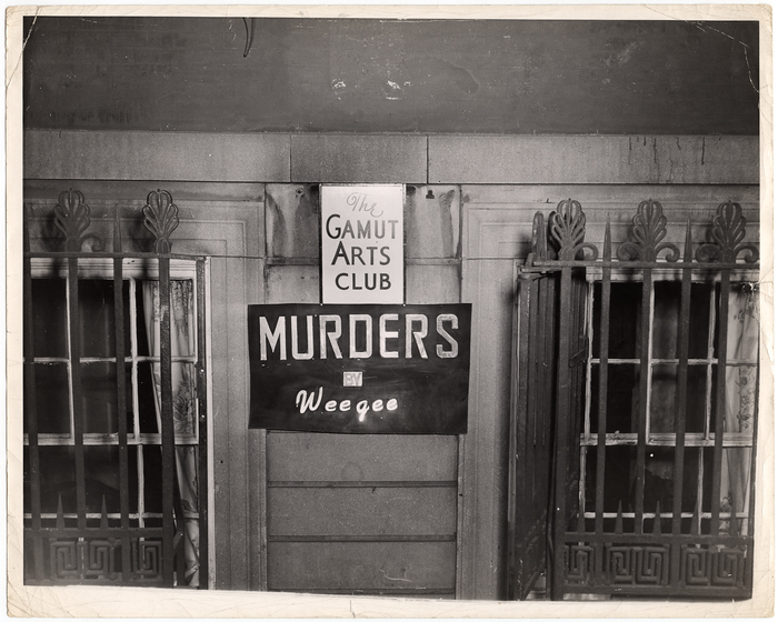 [Exterior of the Gamut Arts Club with a sign for