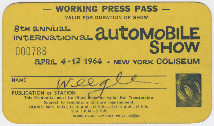 [Weegee's Press Pass to 1964 Automobile Show in New York City]