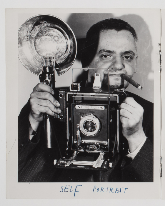 [Self-Portrait, Weegee with Speed Graphic Camera]