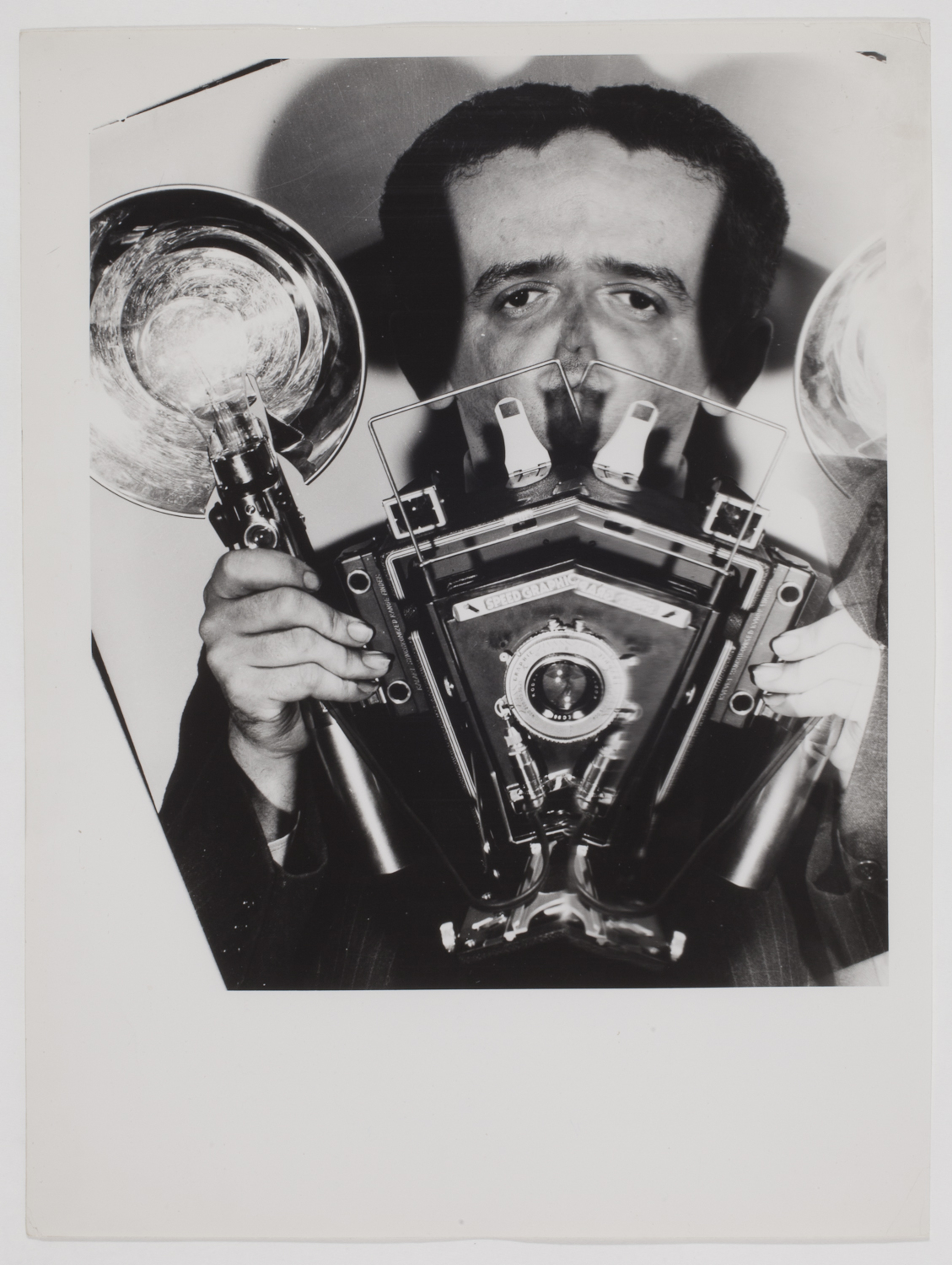 [Distorted Self-Portrait of Weegee with Speed Graphic
