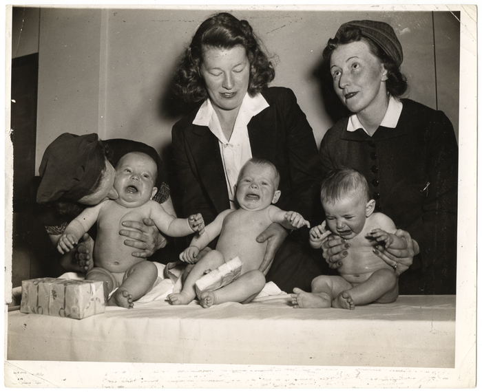 [Mothers with three babies competing in Methodist Hospital's fourth annual Perfect Baby contest, Brooklyn]