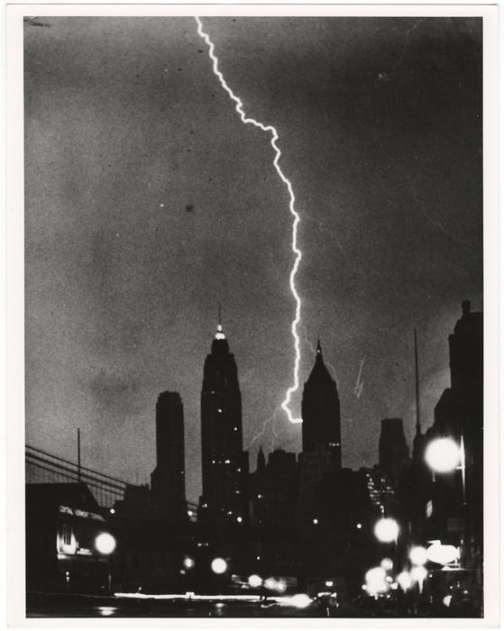 [Bolt of lightning apparently striking the Bank of Manhattan Trust Building, New York]