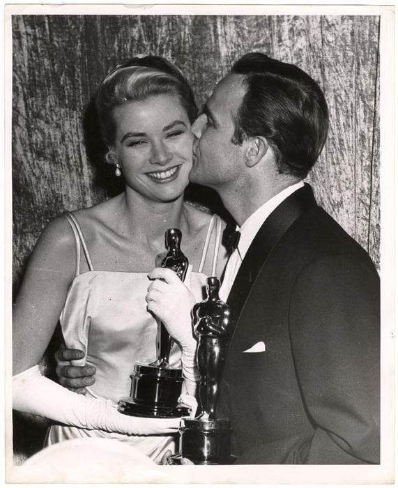 [Grace Kelly and Marlon Brando, 27th Academy Awards, Hollywood]
