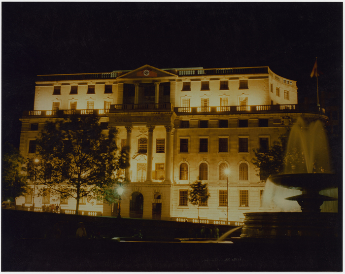 [Projection on South Africa House, Trafalgar Square, London]