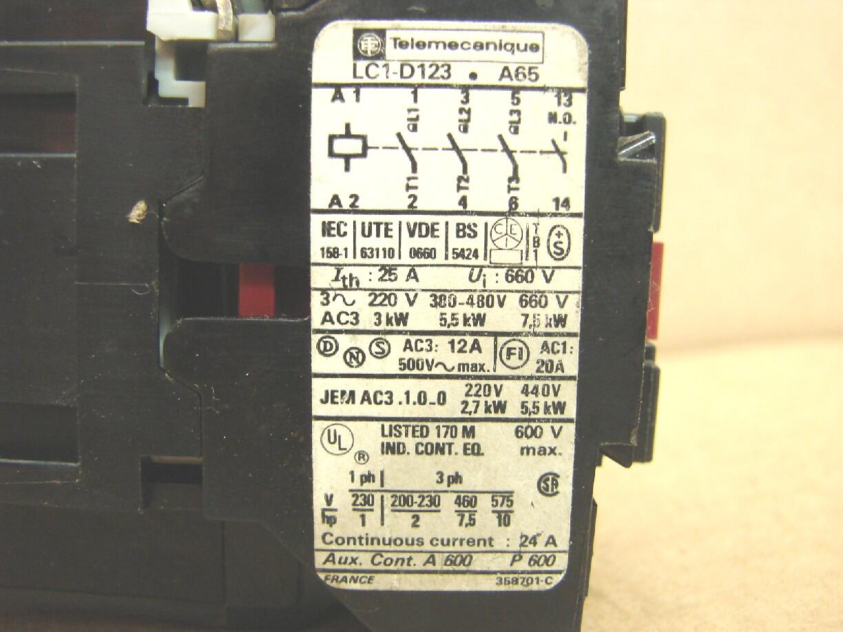 Wiring Diagram For Telemecanique Contactor Master Lc1 D123 Ideal Machinery Inc 2 Pole Relay