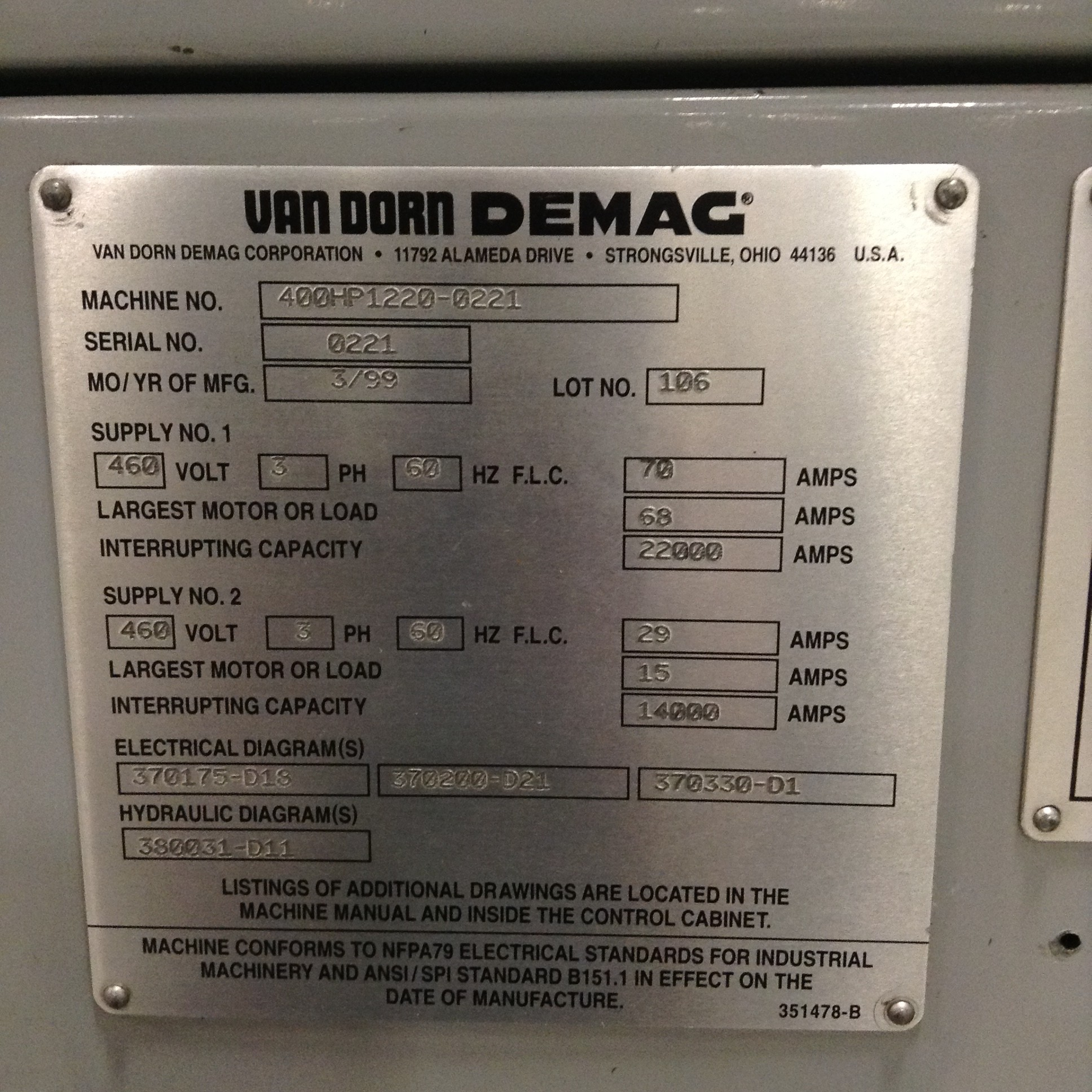 Van Dorn Wiring Diagram Detailed Schematics Yale Erc040 Diagrams Demag 400 Ton Injection Molding Machine 400hp1220 Used Major General Earl
