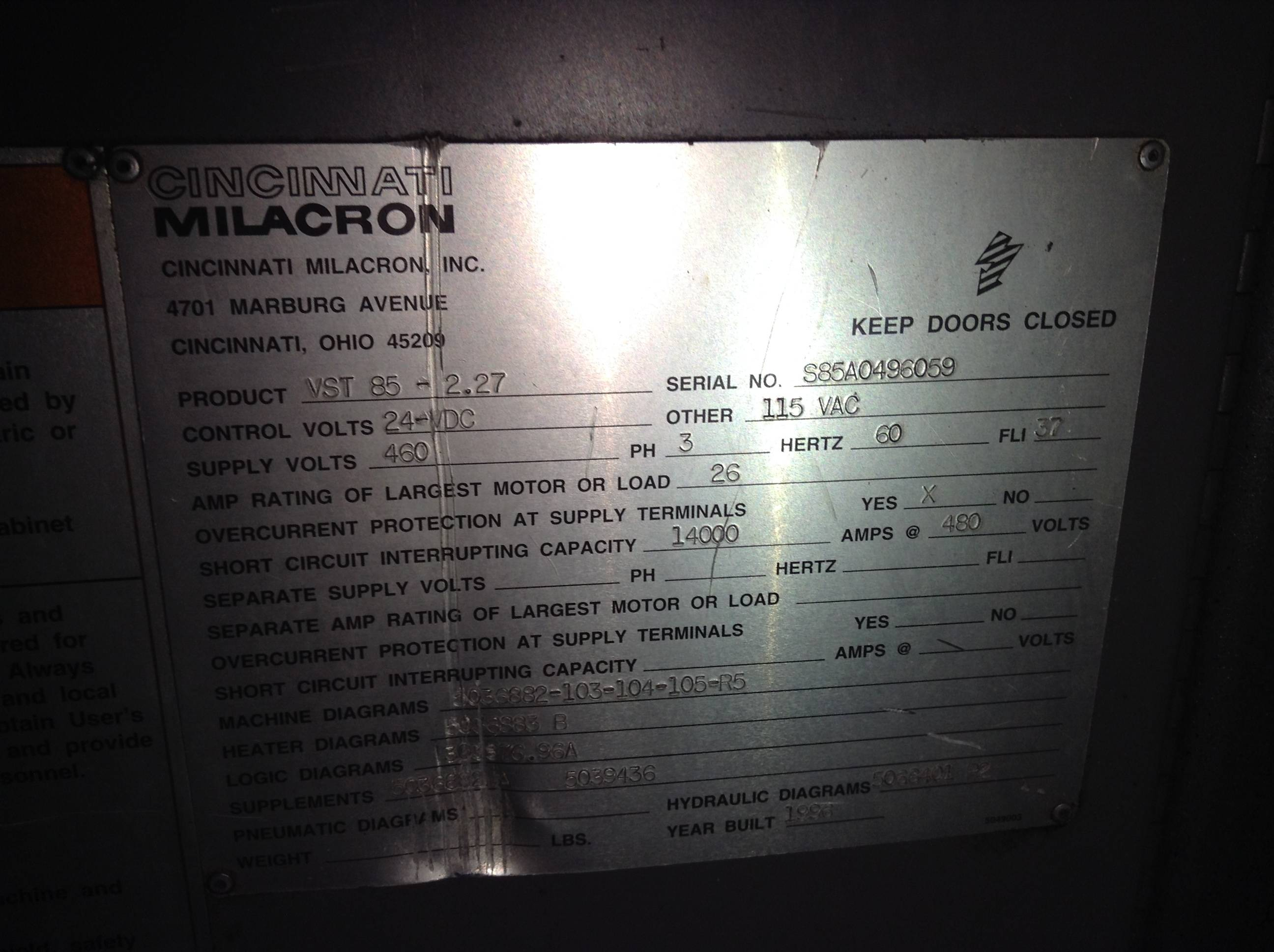 Cincinnati Milacron Camac Vst Operator Interface 3 424 2065a Control System For An On International Tractor Hydraulics Diagram Image Gallery Click To View Larger
