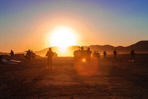 Troopers from 2nd Squadron, 11th Armored Cavalry Regiment conduct a dismounted patrol at the National Training Center, Fort Irwin. Calif. Feb. 14, 2013. Photo by Specialist Adam Hoppe