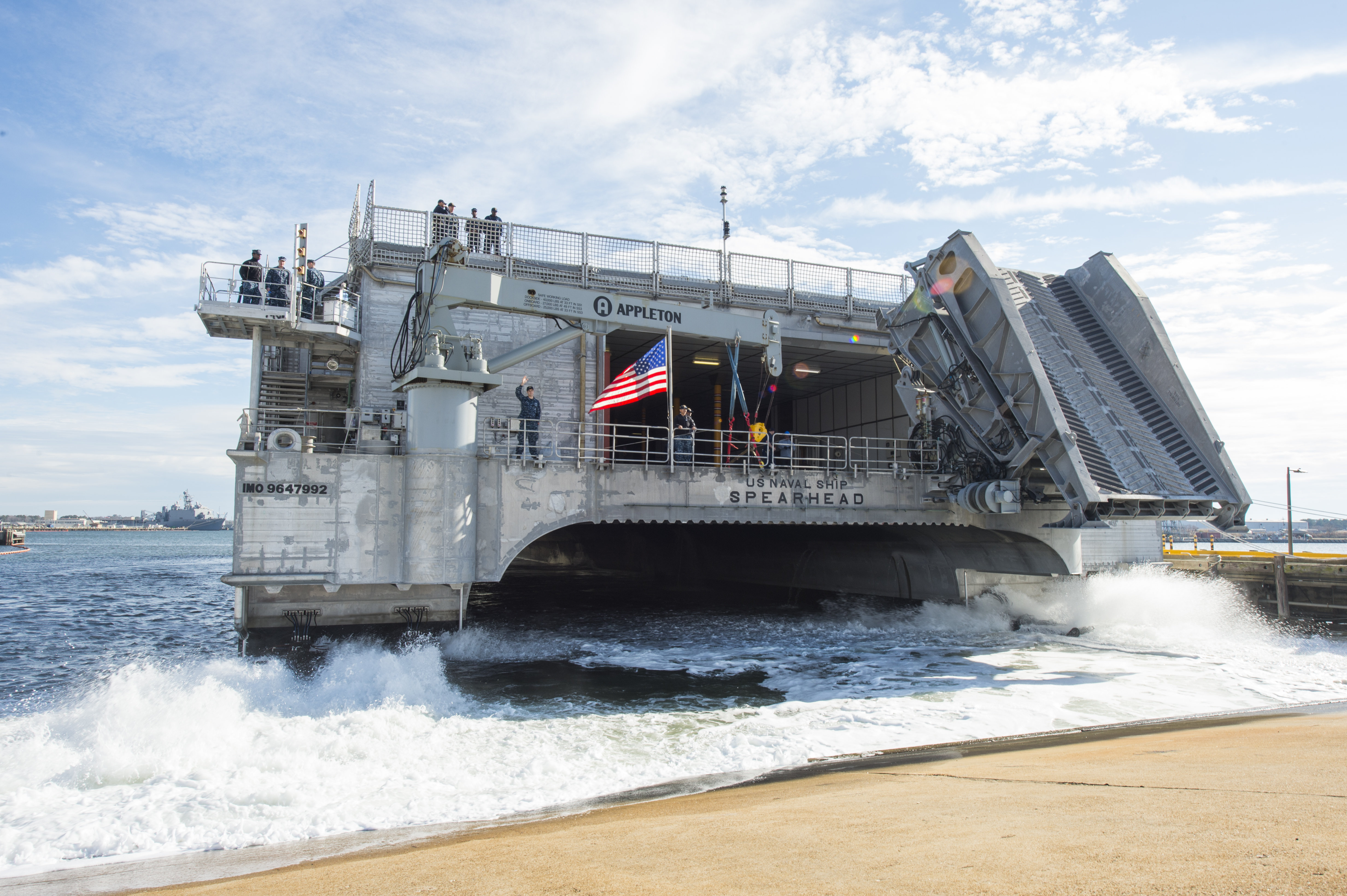 VIRGINIA BEACH, Va. (Dec. 28, 2014) The joint high-speed vessel USNS Spearhead (JHSV-1) departs Joint Expeditionary Base Little Creek-Fort Story. Spearhead is deploying to the U.S. 6th Fleet area of responsibility to support maritime security efforts and to help build partnerships in the Gulf of New Guinea and off the coast of West Africa. (U.S. Navy photo by Mass Communication Specialist 3rd Class Desmond Parks/Released)