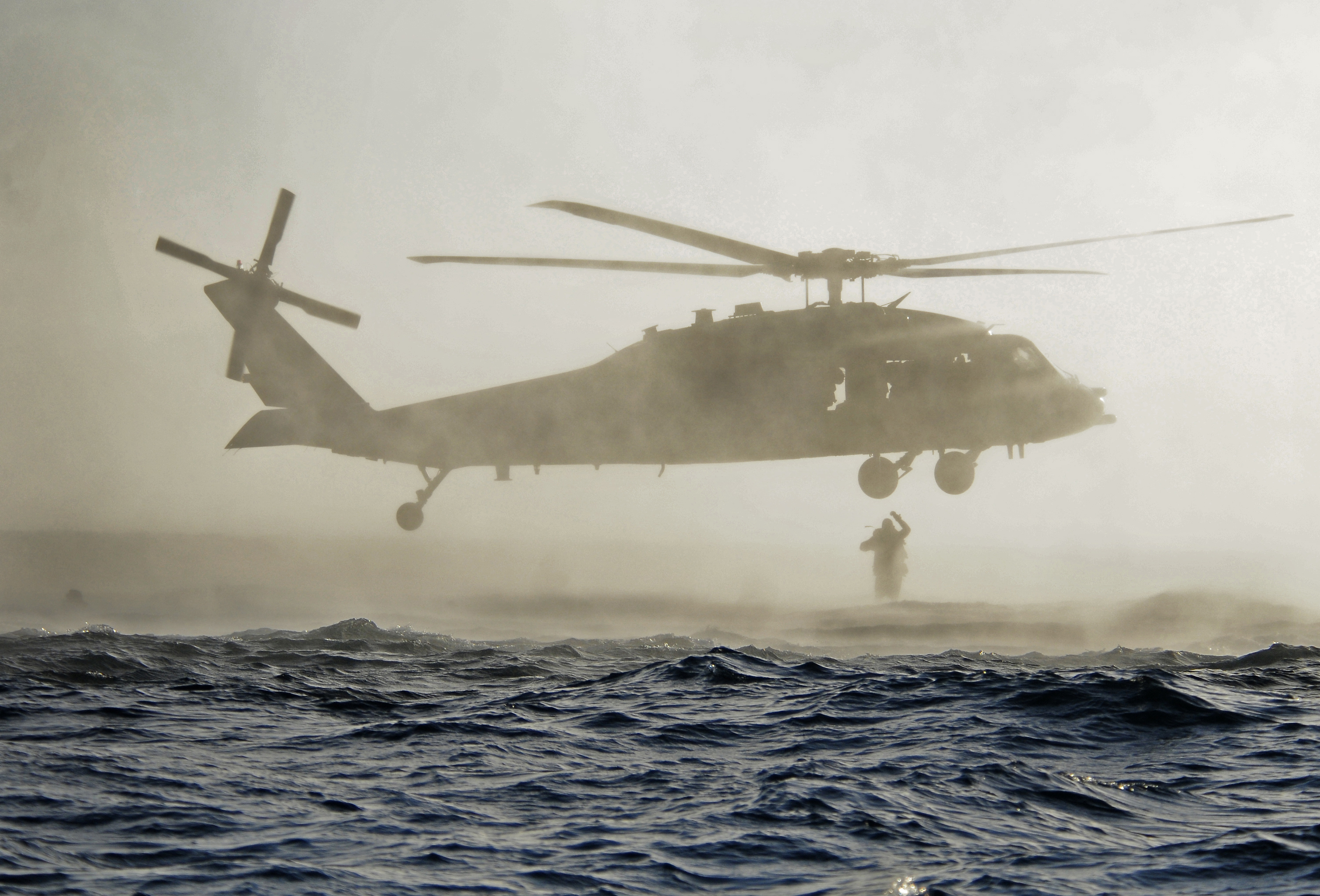 SAN DIEGO (May 2, 2013) U.S. Navy SEALs jump out of an SH-60 Sea Hawk helicopter during a combat diver course. Navy SEALs are the maritime component of U.S. Special Operations Forces and are trained to conduct a variety of operations from the sea, air and land. (U.S. Navy photo by Mass Communication Specialist 1st Class Michael Russell/Released)