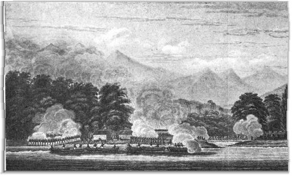 U.S. Infantry assaulting the Acehnese forts at Kuala Batu in 1832