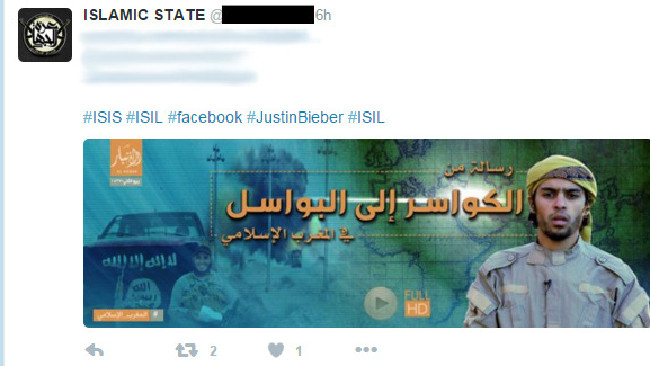 ISIS tweet with Bieber