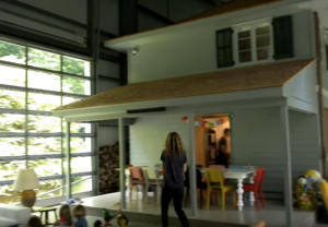 farmhouse in airplane hangar photo for post