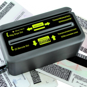 IDWedgeKB ID scanner with ID cards - scans magnetic stripes, driver's license and government IDs