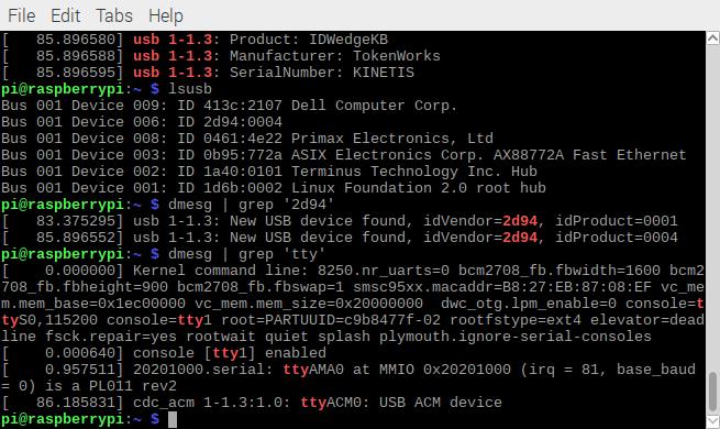dmesg grep 'tty' idwedgekb serial linux
