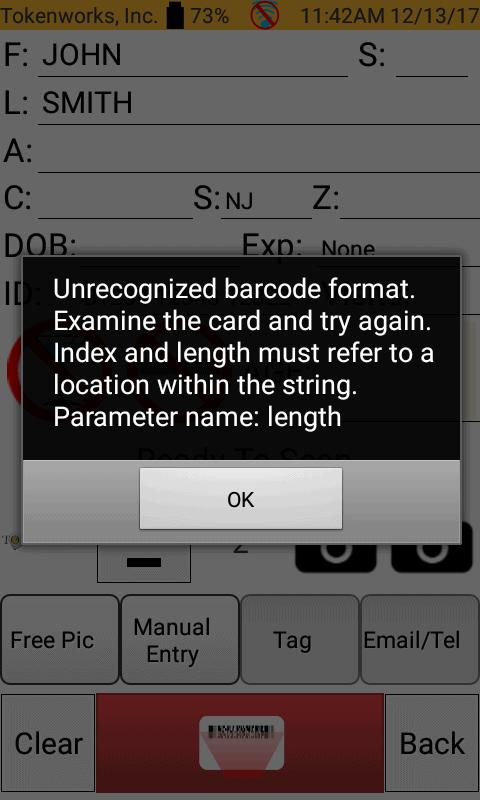 Problem Unrecognized Barcode Format Error Tokenworks Support