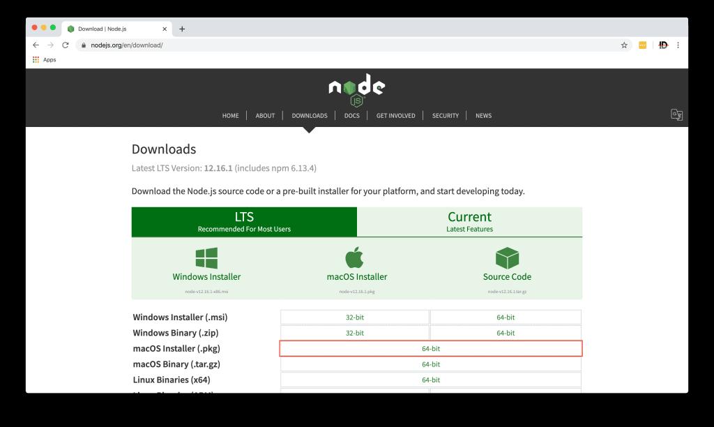NodeJS download page