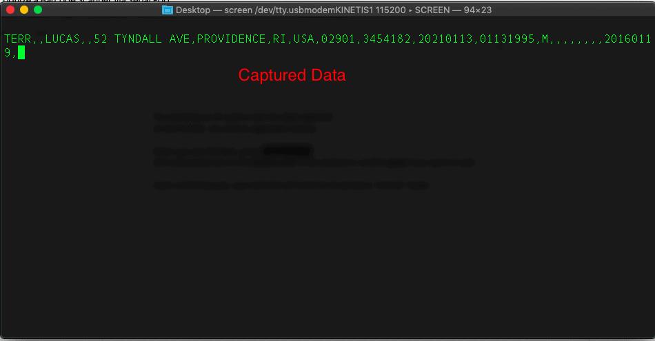 raw driver's license data captured