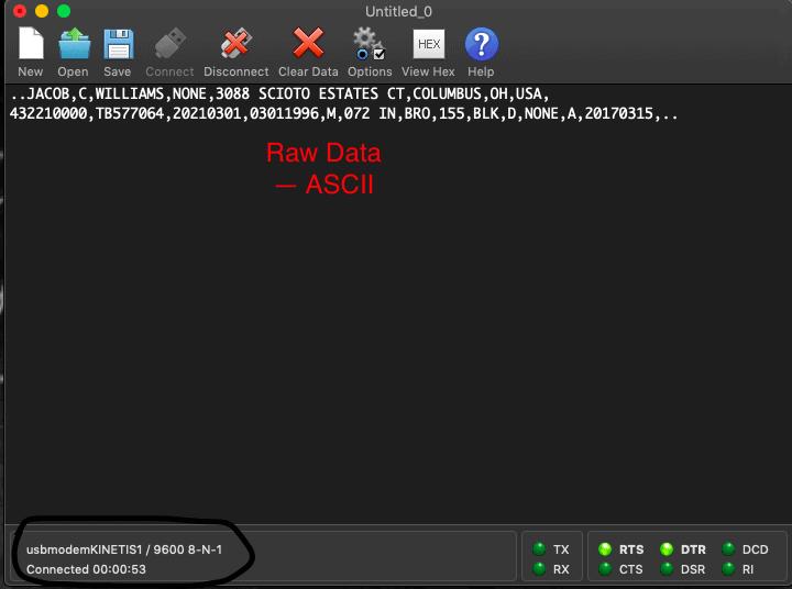 CoolTerm raw driver's license data capture -- ASCII