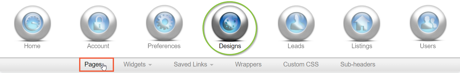 Design Pages Navigation