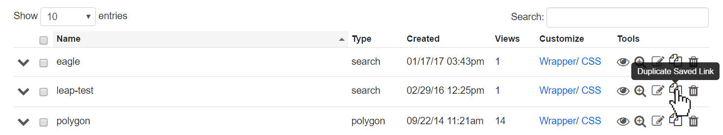 duplicate saved link