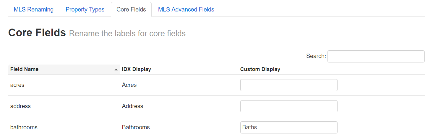 rename core fields