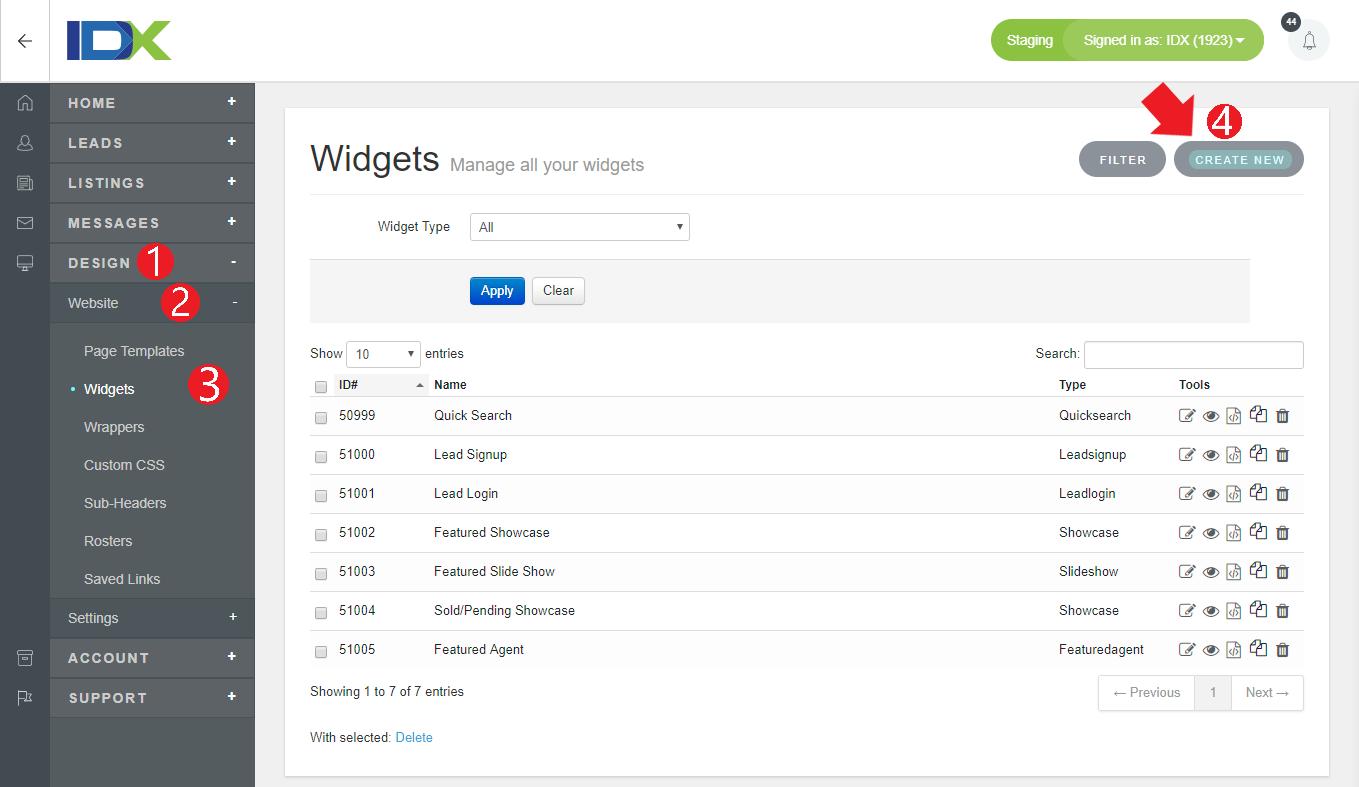 create quick search widget