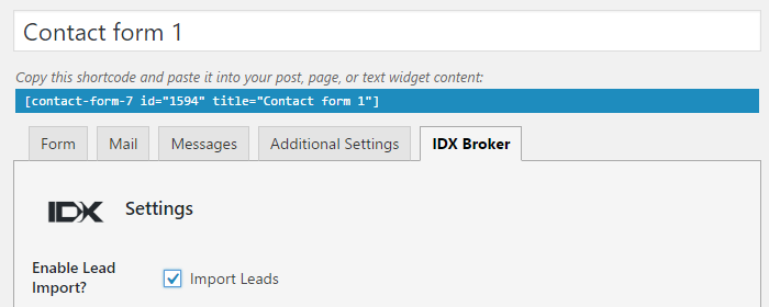 enable IDX Contact form 7