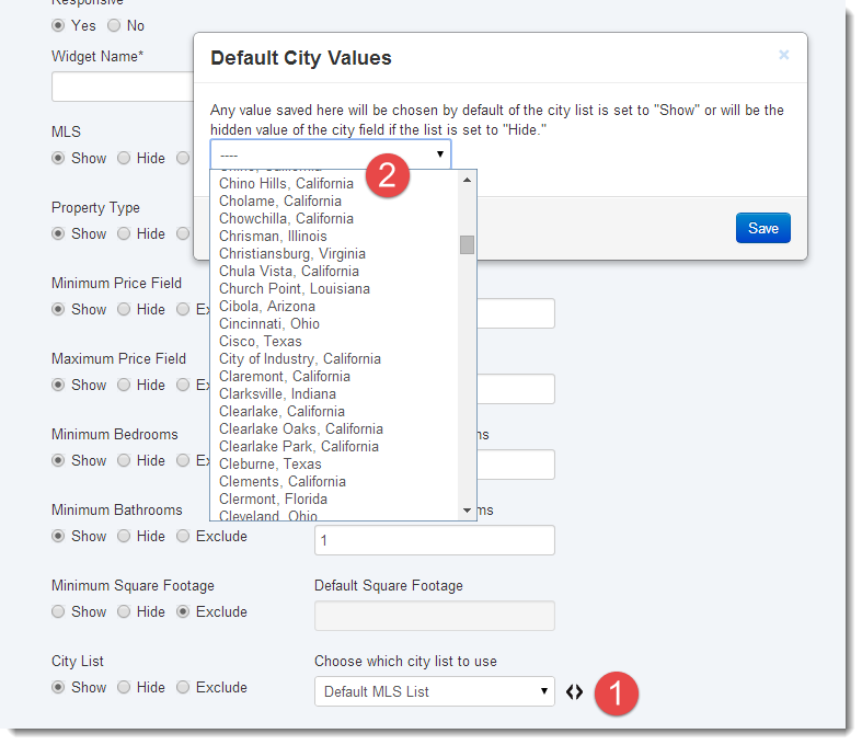 default city values quick search widget