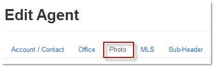 Edit Agent Photo Tab