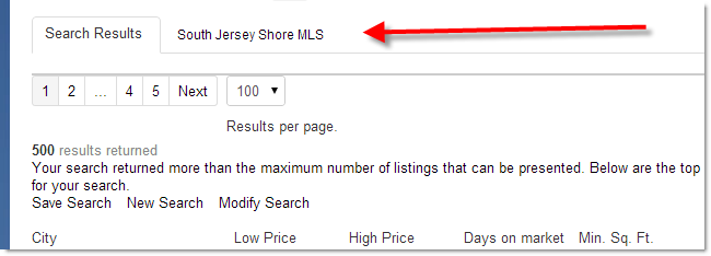 Search results tab with non-commingle MLS
