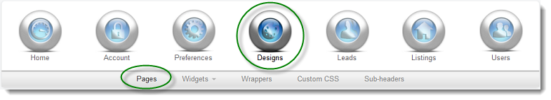 Designs Pages Navigation