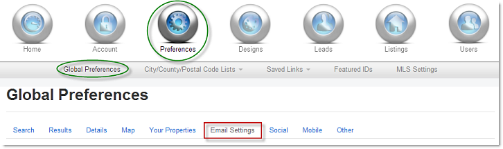 Email Settings tab