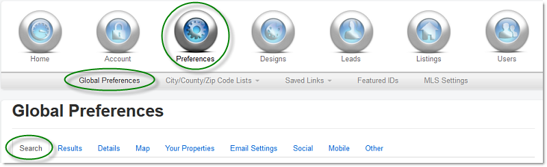 global preferences navigation