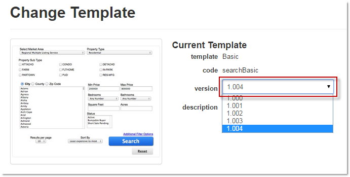 template versioning