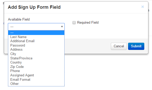 sign up form fields