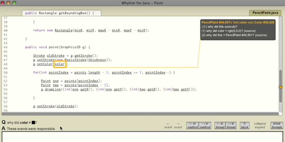 Whyline Java Demo