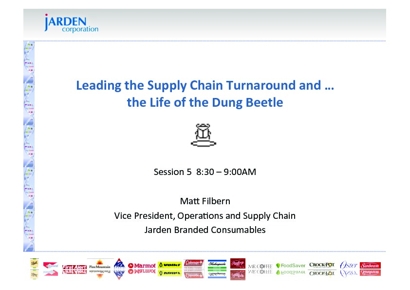Leading the Supply Chain Turnaround and the Life of the Dung Beetle