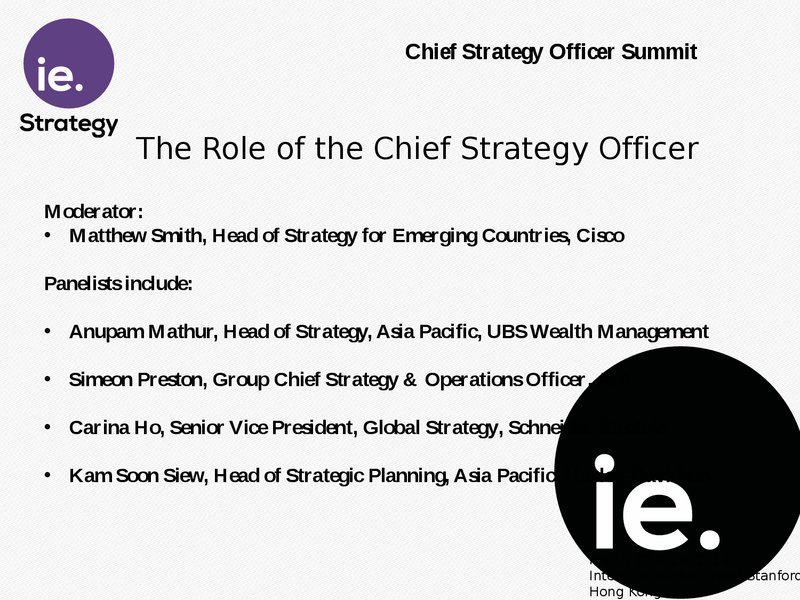 panel the role of the chief strategy officer - Chief Strategy Officer Job Description