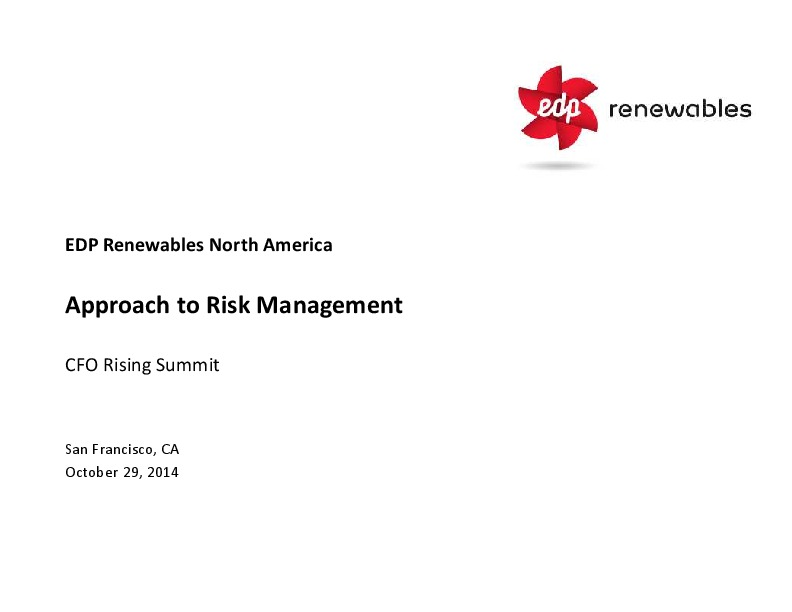 Management of Risk as a Core Competence at EDP Renewables
