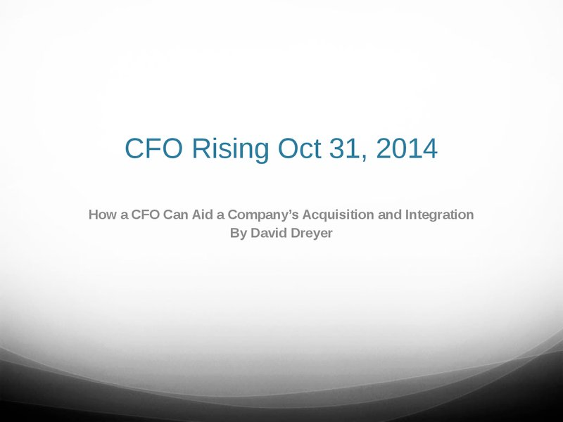 How a CFO can aid Company Acquisition and Integration